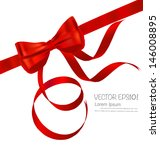 shiny red ribbon on white... | Shutterstock .eps vector #146008895
