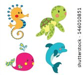 Set Of Cartoon Sea Creatures...