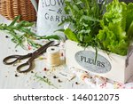Fresh herbs and aromatic spices on an old wooden board. - stock photo