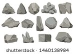Rock stones. Graphite stone, coal and rocks pile for wall or mountain pebble. Gravel pebbles, gray stone heap cartoon isolated vector icons illustration set.