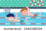Boys Athlete Children Swimming...