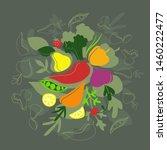 healthy food poster. vegetables ... | Shutterstock .eps vector #1460222477