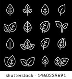 eco set of white line leaf... | Shutterstock . vector #1460239691