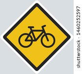 vector warning bicycle sign... | Shutterstock . vector #1460252597