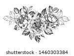 hand drawn peony  flower and...   Shutterstock . vector #1460303384