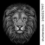 lion. black and white ... | Shutterstock .eps vector #1460317997
