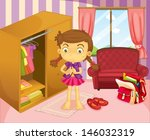 illustration of a girl wearing... | Shutterstock .eps vector #146032319