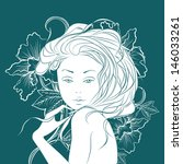 beautiful girl on a flowers... | Shutterstock .eps vector #146033261