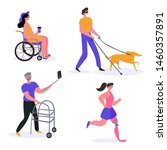 Stock vector happy disabled people woman runs with prosthesis blind man with dog guide girl on wheelchair 1460357891