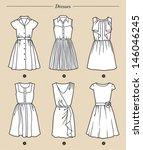 set of six white dresses on... | Shutterstock .eps vector #146046245