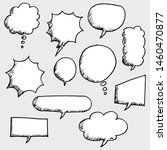 set of hand drawn comic bubble... | Shutterstock .eps vector #1460470877