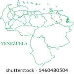 venezuela green line map vector | Shutterstock .eps vector #1460480504