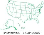 united state green line map... | Shutterstock .eps vector #1460480507