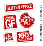 gluten free food stickers set. | Shutterstock .eps vector #146048714