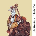 Jazz man with cello. Illustration by Eugene Ivanov. - stock photo