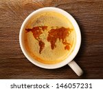 World Map On Cup Of Fresh...