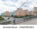 Pavshinsky Bridge (also bridge Pavshinskaya Poima or Spassky Bridge) is pedestrian cable-stayed bridge across Moskva River. Krasnogorsk, Moscow region, Russia