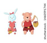 bunny girl and bear boy with a... | Shutterstock .eps vector #1460591744