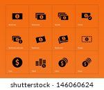 dollar banknote icons on orange ...