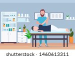 man patient lying on massage... | Shutterstock .eps vector #1460613311