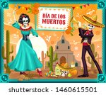 mexican day of the dead dancing ... | Shutterstock .eps vector #1460615501