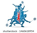group of badminton player... | Shutterstock .eps vector #1460618954