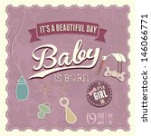 baby shower girl invitation for ... | Shutterstock .eps vector #146066771