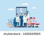 bright poster ambulance... | Shutterstock .eps vector #1460669864