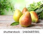 Heap Of Ripe Juicy Pears On...