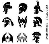 medieval knight  helmets.... | Shutterstock .eps vector #146079155