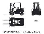 black silhouette of forklift.... | Shutterstock . vector #1460795171