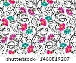 seamless vector rose flower... | Shutterstock .eps vector #1460819207