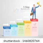 5 steps to business win concept.... | Shutterstock .eps vector #1460820764