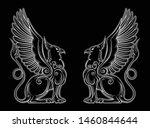 royal heraldry gryphon mythical ... | Shutterstock .eps vector #1460844644