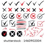 doodle check marks and... | Shutterstock .eps vector #1460902004
