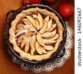 top view of apple pie in cake... | Shutterstock . vector #146092667