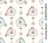 Retro Bicycle Texture. Unicycl...