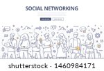 group of people using mobile... | Shutterstock .eps vector #1460984171