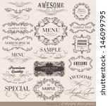 retro vintage calligraphic... | Shutterstock .eps vector #146099795
