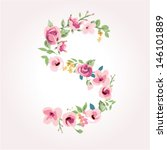 vector flower font capital s | Shutterstock .eps vector #146101889