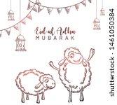 eid al adha sketching doodle... | Shutterstock .eps vector #1461050384