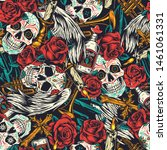 vintage day of dead seamless... | Shutterstock .eps vector #1461061331