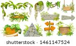 set cartoon game wooden and... | Shutterstock .eps vector #1461147524