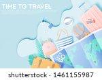 travel various items in paper...   Shutterstock .eps vector #1461155987