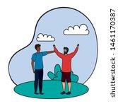 interracial young men friends...   Shutterstock .eps vector #1461170387