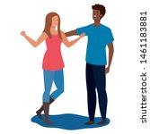 interracial lovers couple... | Shutterstock .eps vector #1461183881