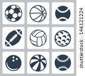 vector sport balls icons set