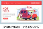 hot pizza landing page vector...