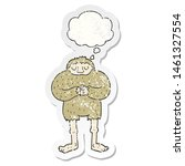 Stock photo cartoon bigfoot with thought bubble as a distressed worn sticker 1461327554