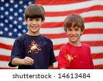 boys at twilight holding... | Shutterstock . vector #14613484
